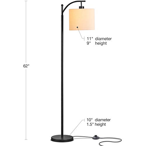 Brightech Montage Bedroom Living Room LED Floor Lamp Standing Industrial Arc Light With Hanging Lamp Shade Tall Pole Uplight For Office With LED Bulb Black 0 0