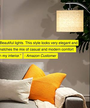 Brightech Montage Bedroom Living Room LED Floor Lamp Standing Industrial Arc Light With Hanging Lamp Shade Tall Pole Uplight For Office With LED Bulb Black 0 1 300x360