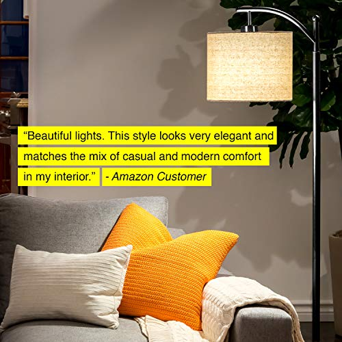 Brightech Montage Bedroom Living Room LED Floor Lamp Standing Industrial Arc Light With Hanging Lamp Shade Tall Pole Uplight For Office With LED Bulb Black 0 1
