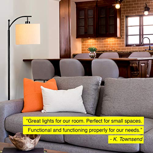 Brightech Montage Bedroom Living Room LED Floor Lamp Standing Industrial Arc Light With Hanging Lamp Shade Tall Pole Uplight For Office With LED Bulb Black 0 2