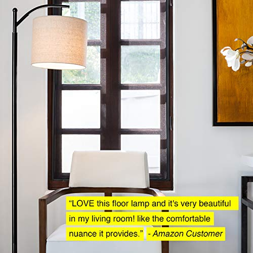 Brightech Montage Bedroom Living Room LED Floor Lamp Standing Industrial Arc Light With Hanging Lamp Shade Tall Pole Uplight For Office With LED Bulb Black 0 3
