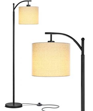 Brightech Montage Bedroom Living Room LED Floor Lamp Standing Industrial Arc Light With Hanging Lamp Shade Tall Pole Uplight For Office With LED Bulb Black 0 300x360
