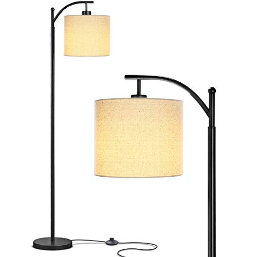 Brightech Montage Bedroom Living Room LED Floor Lamp Standing Industrial Arc Light With Hanging Lamp Shade Tall Pole Uplight For Office With LED Bulb Black 0