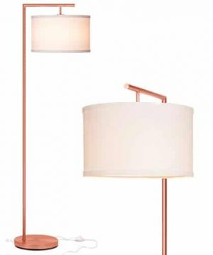 Brightech Montage Modern LED Floor Lamp For Living Room Standing Accent Light For Bedrooms Office Tall Pole Lamp With Hanging Drum Shade Rose Gold 0 300x360