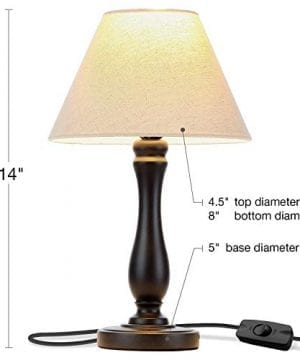 Brightech Noah LED Side Bedside Table Desk Lamp Traditional Elegant Black Wood Base Neutral Shade Soft Ambient Light For Bedroom Nightstand Living Room Office Incl LED Bulb Cord 0 0 300x360