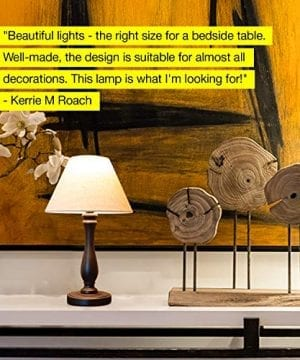Brightech Noah LED Side Bedside Table Desk Lamp Traditional Elegant Black Wood Base Neutral Shade Soft Ambient Light For Bedroom Nightstand Living Room Office Incl LED Bulb Cord 0 2 300x360