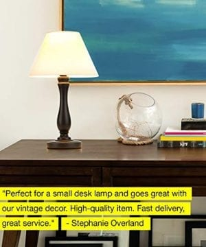 Brightech Noah LED Side Bedside Table Desk Lamp Traditional Elegant Black Wood Base Neutral Shade Soft Ambient Light For Bedroom Nightstand Living Room Office Incl LED Bulb Cord 0 3 300x360