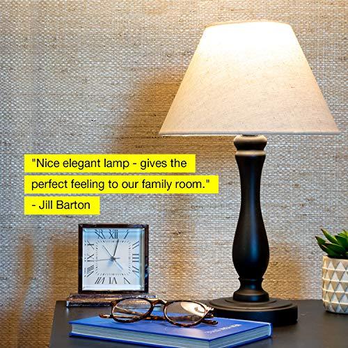 Brightech Noah LED Side Bedside Table  Desk Lamp Traditional Elegant Black Wood