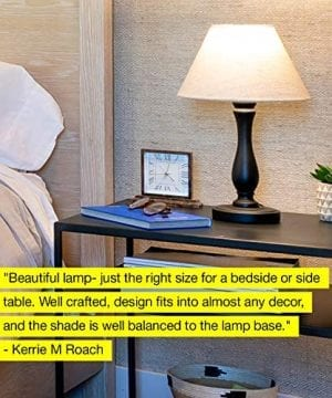 Brightech Noah LED Side Bedside Table Desk Lamp Traditional Elegant Black Wood Base Neutral Shade Soft Ambient Light For Bedroom Nightstand Living Room Office Incl LED Bulb Cord 0 5 300x360