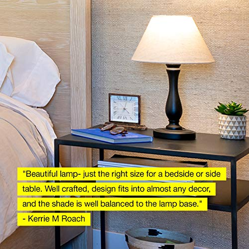 Brightech Noah LED Side Bedside Table Desk Lamp Traditional Elegant Black Wood Base Neutral Shade Soft Ambient Light For Bedroom Nightstand Living Room Office Incl LED Bulb Cord 0 5