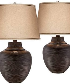 Brighton Rustic Table Lamps Set Of 2 Hammered Bronze Metal Pot Beige Linen Drum Shade For Living Room Family Bedroom Bedside Barnes And Ivy 0 300x360