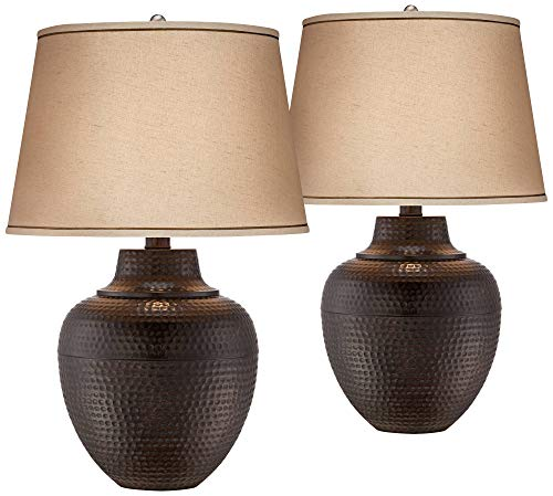 Brighton Rustic Table Lamps Set Of 2 Hammered Bronze Metal Pot Beige Linen Drum Shade For Living Room Family Bedroom Bedside Barnes And Ivy 0