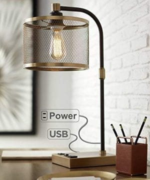 Brody Vintage Farmhouse Industrial Desk Lamp With USB And AC Power Outlet In Base Antique Brass Bronze Perforated Metal Shade For Living Room Bedroom Bedside Office 360 Lighting 0 300x360