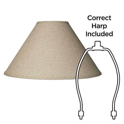Burlap Empire Lamp Shade Rustic Fabric With Harp 6x19x12 Spider Brentwood 0 4