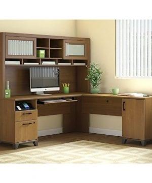 Bush Furniture Achieve L Shaped Desk With Hutch In Warm Oak 0 300x360