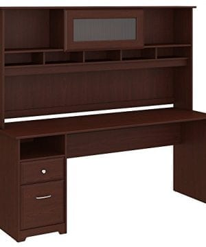 Bush Furniture Cabot 72W Computer Desk With Hutch And Drawers In Harvest Cherry 0 300x360