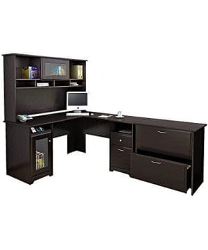 Bush Furniture Cabot L Shaped Desk With Hutch And Lateral File Cabinet In Espresso Oak 0 300x360