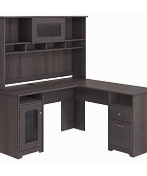 Bush Furniture Cabot L Shaped Desk With Hutch In Heather Gray 0 300x360
