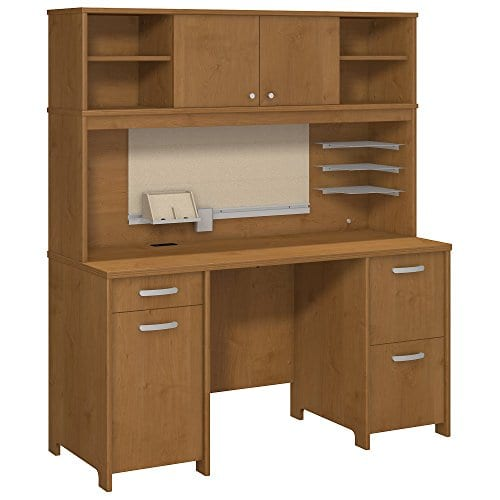 Bush Furniture Envoy Office Desk With Hutch And 2 Pedestals In Natural Cherry 0 0