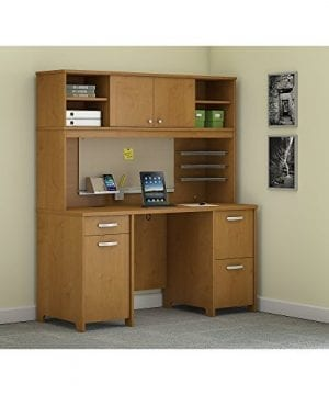 Bush Furniture Envoy Office Desk With Hutch And 2 Pedestals In Natural Cherry 0 300x360