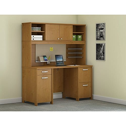 Bush Furniture Envoy Office Desk With Hutch And 2 Pedestals In Natural Cherry 0