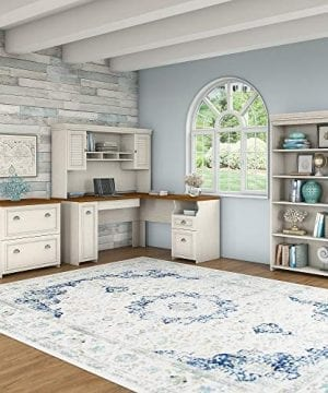 Bush Furniture Fairview L Shaped Desk With Hutch Bookcase And Lateral File Cabinet In Antique White 0 0 300x360