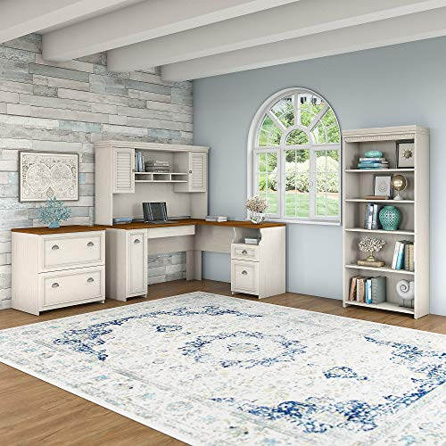 Bush Furniture Fairview L Shaped Desk With Hutch Bookcase And Lateral File Cabinet In Antique White 0 0