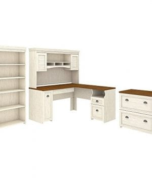 Bush Furniture Fairview L Shaped Desk With Hutch Bookcase And Lateral File Cabinet In Antique White 0 300x360