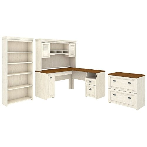 Bush Furniture Fairview L Shaped Desk With Hutch Bookcase And Lateral File Cabinet In Antique White 0