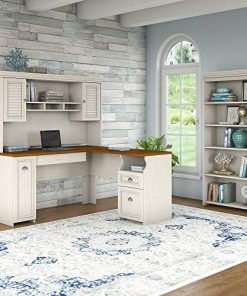 best sneakers 69b2d 6b274 Bush Furniture Fairview L Shaped Desk with Hutch and 5 Shelf Bookcase in  Antique White
