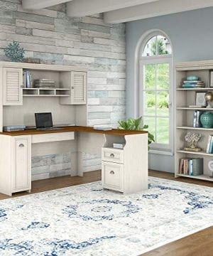 Bush Furniture Fairview L Shaped Desk With Hutch And 5 Shelf Bookcase In Antique White 0 0 300x360