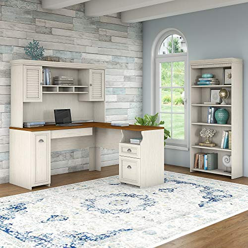 Bush Furniture Fairview L Shaped Desk With Hutch And 5 Shelf Bookcase In Antique White 0 0
