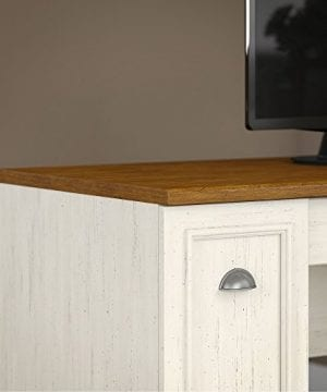 Bush Furniture Fairview L Shaped Desk With Hutch And 5 Shelf Bookcase In Antique White 0 2 300x360