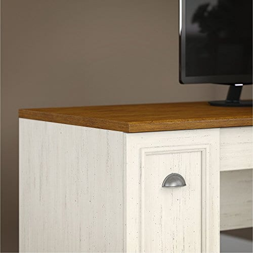 Bush Furniture Fairview L Shaped Desk With Hutch And 5 Shelf Bookcase In Antique White 0 2
