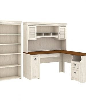 Bush Furniture Fairview L Shaped Desk With Hutch And 5 Shelf Bookcase In Antique White 0 300x360