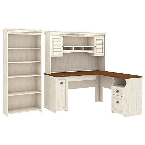 Bush Furniture Fairview L Shaped Desk With Hutch And 5 Shelf Bookcase In Antique White 0