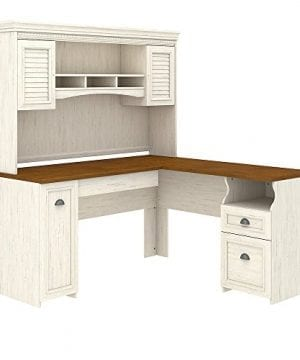 Bush Furniture Fairview L Shaped Desk With Hutch In Antique White 0 300x360