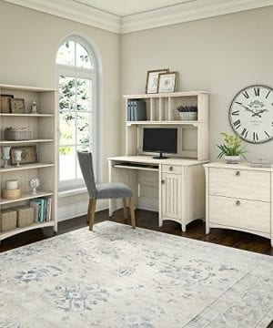Bush Furniture Salinas Mission Desk With Hutch Lateral File Cabinet And 5 Shelf Bookcase In Antique White 0 0 300x360