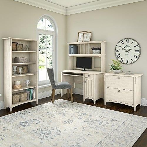 Bush Furniture Salinas Mission Desk With Hutch Lateral File Cabinet And 5 Shelf Bookcase In Antique White 0 0