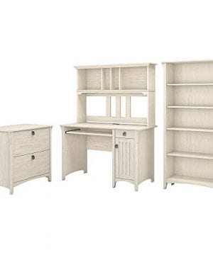 Bush Furniture Salinas Mission Desk With Hutch Lateral File Cabinet And 5 Shelf Bookcase In Antique White 0 300x360