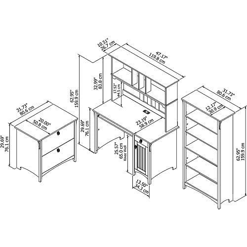 Bush Furniture Salinas Mission Desk With Hutch Lateral File Cabinet And 5 Shelf Bookcase In Antique White 0 4