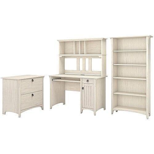 Bush Furniture Salinas Mission Desk With Hutch Lateral File Cabinet And 5 Shelf Bookcase In Antique White 0