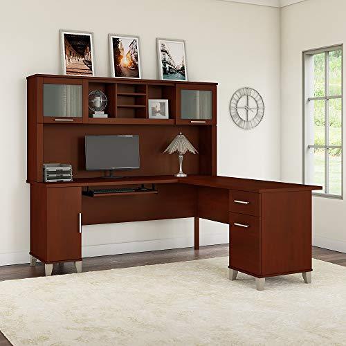 Bush Furniture Somerset 71W L Shaped Desk With Hutch In Hansen Cherry 0 0