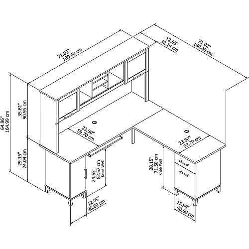 Bush Furniture Somerset 71W L Shaped Desk With Hutch In Hansen Cherry 0 4