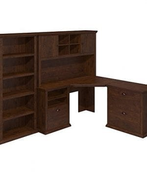 Bush Furniture Yorktown Corner Desk With Hutch Lateral File Cabinet And Bookcase In Antique Cherry 0 300x360