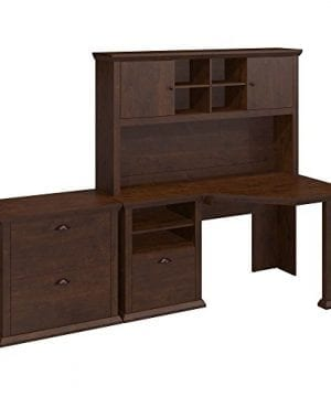 Bush Furniture Yorktown Corner Desk With Hutch And Lateral File Cabinet In Antique Cherry 0 300x360