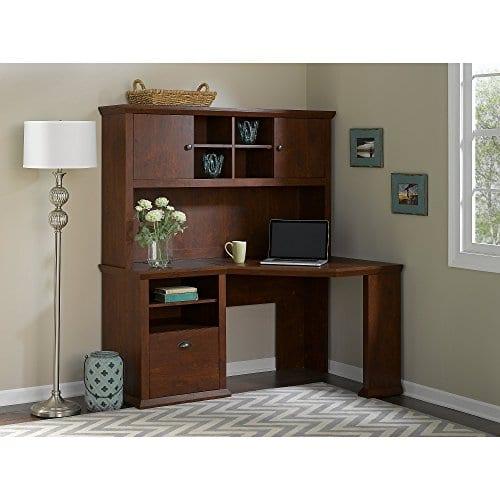 Bush Furniture Yorktown Corner Desk With Hutch In Antique Cherry 0 0