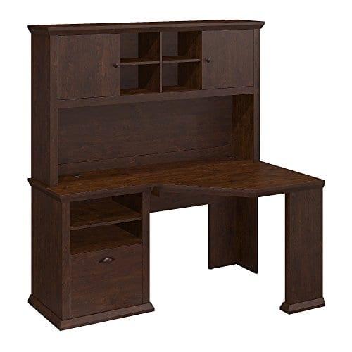 Bush Furniture Yorktown Corner Desk With Hutch In Antique Cherry 0