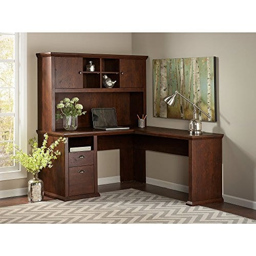 Bush Furniture Yorktown L Shaped Desk With Hutch In Antique Cherry 0 0