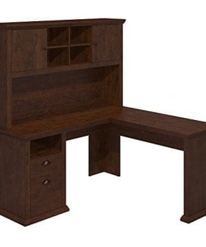 Bush Furniture Yorktown L Shaped Desk With Hutch In Antique Cherry 0 300x360